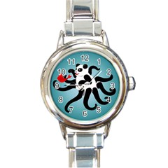 Panda Octopus Fish Blue Round Italian Charm Watch