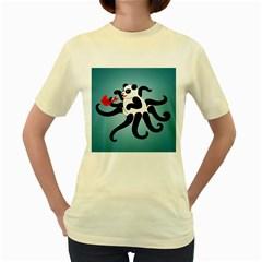 Panda Octopus Fish Blue Women s Yellow T-Shirt