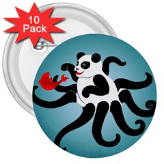 Panda Octopus Fish Blue 3  Buttons (10 pack)