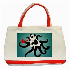 Panda Octopus Fish Blue Classic Tote Bag (Red)
