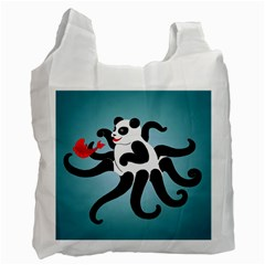 Panda Octopus Fish Blue Recycle Bag (Two Side)