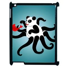 Panda Octopus Fish Blue Apple iPad 2 Case (Black)