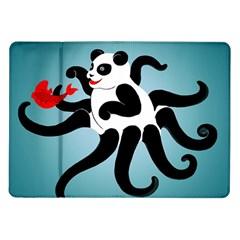 Panda Octopus Fish Blue Samsung Galaxy Tab 10.1  P7500 Flip Case