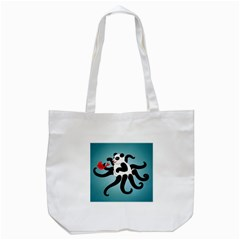 Panda Octopus Fish Blue Tote Bag (White)
