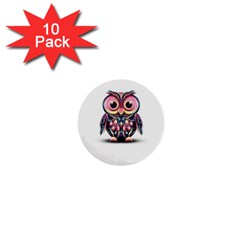Owl Colorful 1  Mini Buttons (10 pack)