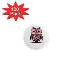 Owl Colorful 1  Mini Magnets (100 pack)