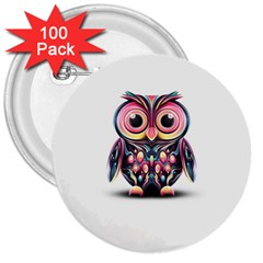 Owl Colorful 3  Buttons (100 pack)