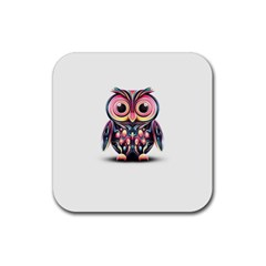 Owl Colorful Rubber Square Coaster (4 pack)
