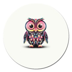Owl Colorful Magnet 5  (Round)