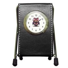 Owl Colorful Pen Holder Desk Clocks