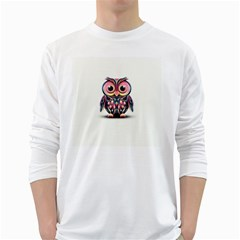 Owl Colorful White Long Sleeve T-Shirts