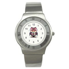 Owl Colorful Stainless Steel Watch