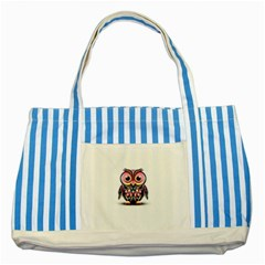 Owl Colorful Striped Blue Tote Bag