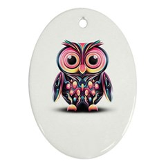Owl Colorful Oval Ornament (Two Sides)