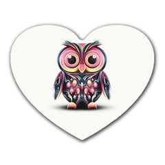 Owl Colorful Heart Mousepads
