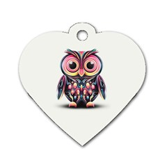 Owl Colorful Dog Tag Heart (One Side)