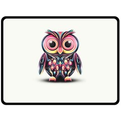 Owl Colorful Double Sided Fleece Blanket (Large)