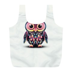 Owl Colorful Full Print Recycle Bags (L)