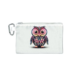 Owl Colorful Canvas Cosmetic Bag (S)