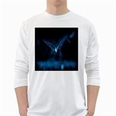 Night Owl Wide White Long Sleeve T Shirts