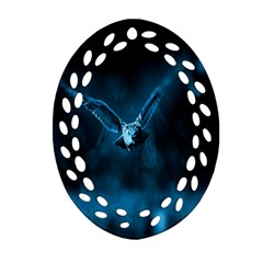 Night Owl Wide Oval Filigree Ornament (2-Side)
