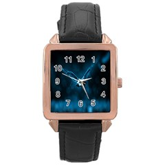 Night Owl Wide Rose Gold Leather Watch