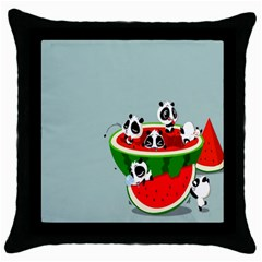 Panda Watermelon Throw Pillow Case (Black)