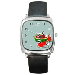 Panda Watermelon Square Metal Watch