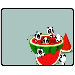 Panda Watermelon Fleece Blanket (Medium)