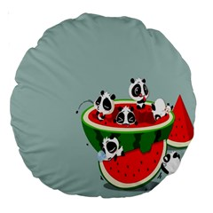 Panda Watermelon Large 18  Premium Round Cushions