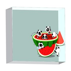 Panda Watermelon 5  x 5  Acrylic Photo Blocks