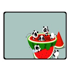 Panda Watermelon Double Sided Fleece Blanket (Small)