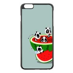 Panda Watermelon Apple iPhone 6 Plus/6S Plus Black Enamel Case