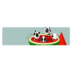 Panda Watermelon Satin Scarf (Oblong)