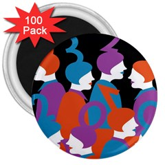 People 3  Magnets (100 pack)