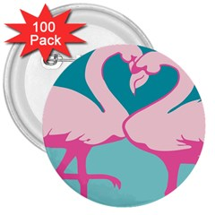 Pink Flamengo 3  Buttons (100 pack)