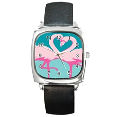 Pink Flamengo Square Metal Watch