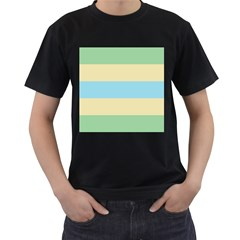Romantic Flags Men s T-Shirt (Black) (Two Sided)
