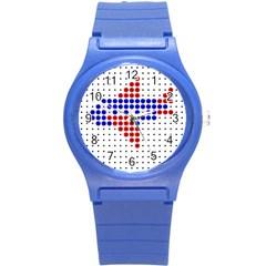 Plane Round Plastic Sport Watch (S)