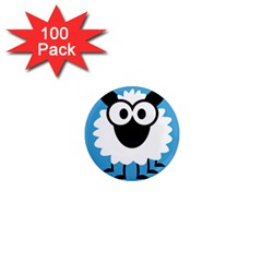 Sheep Animals Bleu 1  Mini Magnets (100 pack)