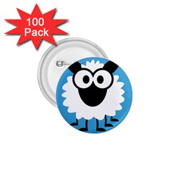 Sheep Animals Bleu 1.75  Buttons (100 pack)