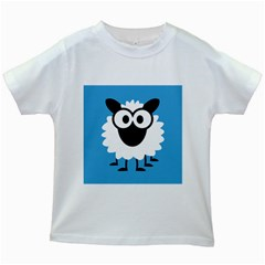 Sheep Animals Bleu Kids White T-Shirts