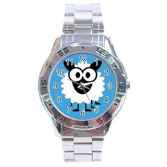 Sheep Animals Bleu Stainless Steel Analogue Watch