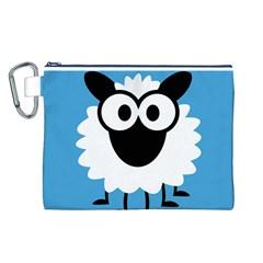 Sheep Animals Bleu Canvas Cosmetic Bag (L)