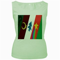 Star Color Women s Green Tank Top