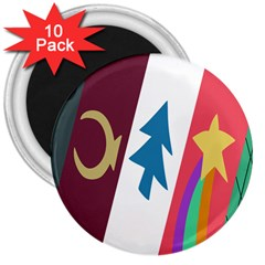 Star Color 3  Magnets (10 pack)