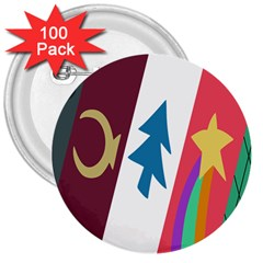 Star Color 3  Buttons (100 pack)