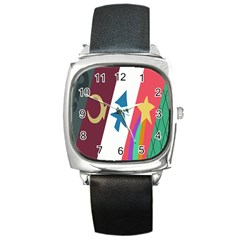 Star Color Square Metal Watch