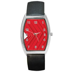 Rank Red White Barrel Style Metal Watch