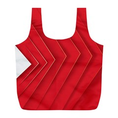 Rank Red White Full Print Recycle Bags (L)